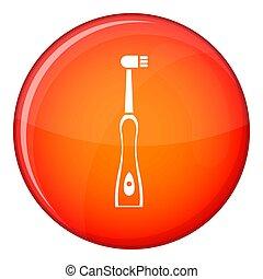 stijl, pictogram, elektrische toothbrush, plat