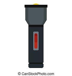 stijl, pictogram, flashlight, elektrisch, plat