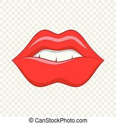 stijl, pictogram, lippen, rood, spotprent