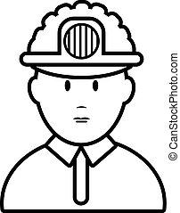 stijl, pictogram, mijnwerker, schets