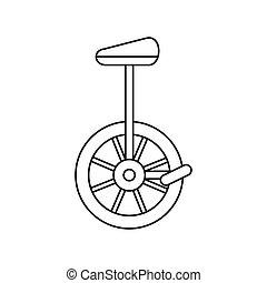stijl, pictogram, unicycle, schets, wiel, een, fiets