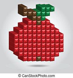 stijl, pixel, appel