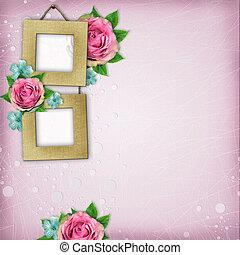 stijl, plakboek, pagina, album, mooi