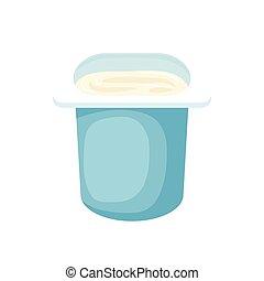 stijl, plastic, yoghurt, blauwe , kop, spotprent, pictogram