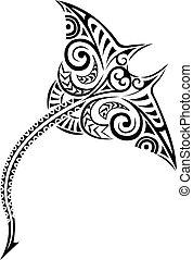stijl, polynesiër, mantaray