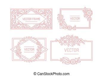 stijl, ruimte, tekst, frame, floral, vector, mono, modieus,...