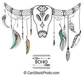 stijl, schedel, van een stam, boho, achtergrond, stier