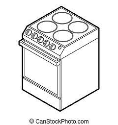 stijl, schets, cooker, moderne, pictogram, elektrisch