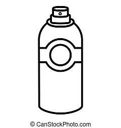 stijl, schets, deodorant, verpulveren, pictogram