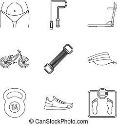 stijl, schets, iconen, set, activiteit, lichamelijk