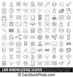 stijl, schets, iconen, set, honderd, kennis