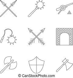 stijl, schets, iconen, set, leeftijden, middelbare , militair