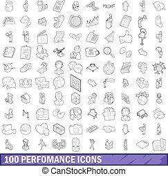 stijl, schets, iconen, set, opvoering, honderd