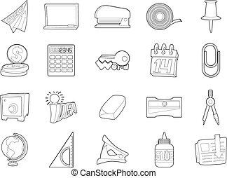 stijl, schets, kantoor, set, gereedschap, pictogram