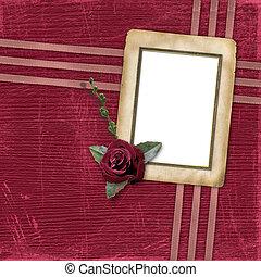 stijl, scrapbooking, roos, ontwerp, papieren, grunge
