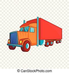 stijl, semi vrachtwagen, pictogram, spotprent, schamelaanhanger