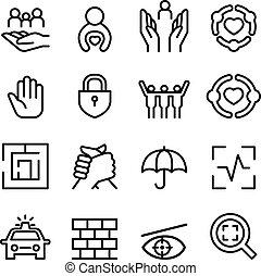 stijl, set, bescherming, dune lijn, pictogram