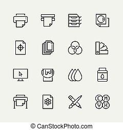 stijl, set, bezig met afdrukken van, vector, dune lijn, pictogram