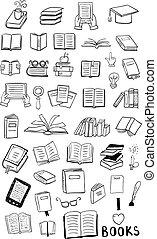 stijl, set, boek, dune lijn, pictogram