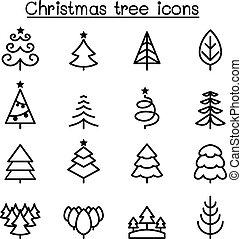 stijl, set, boompje, dune lijn, kerstmis, pictogram