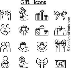 stijl, set, cadeau, dune lijn, pictogram