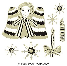 stijl, set, clipart., burning, snowflakes., kaarsjes, engel, twee, kerstmis, vier, achtergrond., hand-drawn, communie, ontwerp, colors., vector., black , goud, scandinavische, witte
