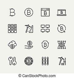 stijl, set, cryptocurrency, vector, dune lijn, pictogram