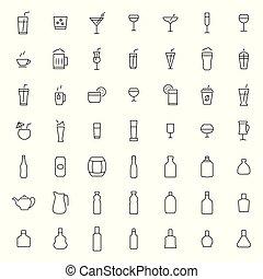 stijl, set, drank, dune lijn, pictogram