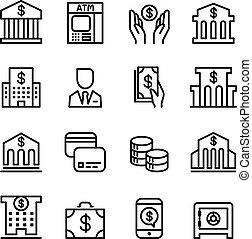 stijl, set, dune lijn, bank, pictogram