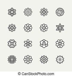 stijl, set, dune lijn, bloemen, pictogram