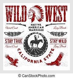 stijl, set, elements., west, amerikaan indiaas, ontworpen,...