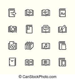 stijl, set, ereader, verwant, vector, mager, interface, lijn, pictogram