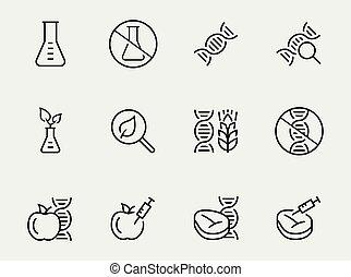 stijl, set, gmo, voedingsmiddelen, verwant, vector, dune lijn, pictogram