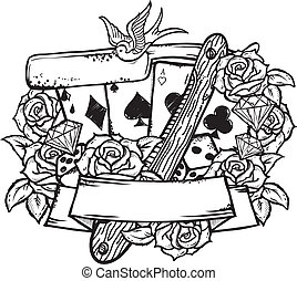 stijl, set, grunge, casino, iconen