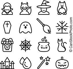 stijl, set, halloween, dune lijn, pictogram