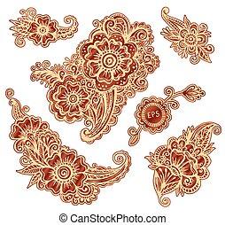 stijl, set, hand-drawn, indiër, versieringen, mehndi