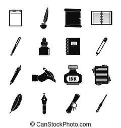 stijl, set, iconen, eenvoudig, items, schrijvende