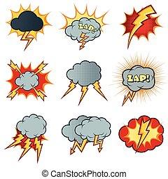 stijl, set, iconen, lightning, vector, komisch, spotprent