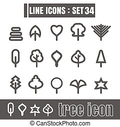 stijl, set, iconen, meetkunde, boompje, recht, moderne, lijnen, bochten, vector, zwarte achtergrond, ontwerp, lijn, witte , communie