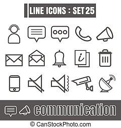 stijl, set, iconen, meetkunde, communicatie, recht, moderne, lijnen, bochten, vector, zwarte achtergrond, ontwerp, lijn, witte , communie