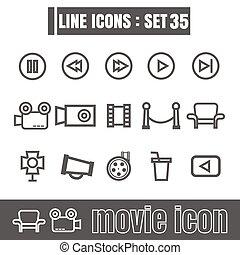 stijl, set, iconen, meetkunde, film, recht, moderne, lijnen, bochten, vector, zwarte achtergrond, ontwerp, lijn, witte , communie