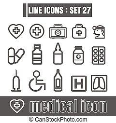 stijl, set, iconen, meetkunde, medisch, moderne, lijnen, bochten, vector, zwarte achtergrond, recht, ontwerp, witte , werken, lijn, communie