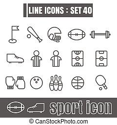stijl, set, iconen, meetkunde, recht, moderne, lijnen, bochten, vector, zwarte achtergrond, ontwerp, lijn, sportende, witte , communie