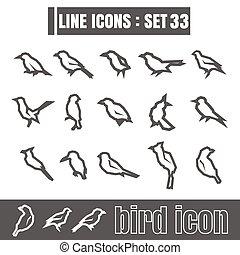 stijl, set, iconen, meetkunde, recht, moderne, lijnen, bochten, vogel, vector, zwarte achtergrond, ontwerp, wit lijnen, communie