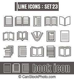 stijl, set, iconen, meetkunde, recht, moderne, lijnen, bochten, witte , vector, zwarte achtergrond, ontwerp, lijn, boek, communie