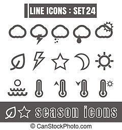 stijl, set, iconen, meetkunde, seizoen, recht, moderne, lijnen, bochten, vector, zwarte achtergrond, ontwerp, lijn, witte , communie