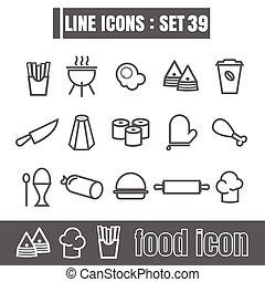 stijl, set, iconen, voedingsmiddelen, recht, moderne, lijnen, bochten, meetkunde, vector, zwarte achtergrond, ontwerp, lijn, witte , communie