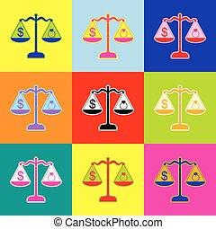 stijl, set, kleurrijke, iconen, jewelery, symbool, dollar, 3, colors., vector., ring, schalen., pop-art