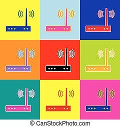 stijl, set, kleurrijke, iconen, teken., wifi, 3, colors., vector., modem, pop-art