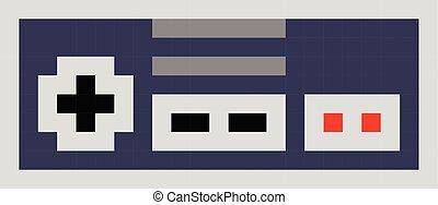 stijl, set, kunst, pixel, contorller, spelstootkussen, retro, spotprent